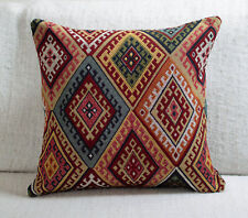 "Traditional Turkish Kilim Cushion. 17x17"" Square. Heavyweight Geometric Tapestry"