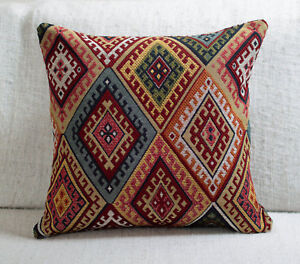 "Traditional Turkish Kilim Cushion. 17x17"" Square. Heavyweight Geometric Tapestry"
