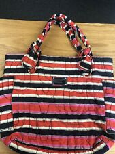 MARC BY MARC JACOBS Red and Blue Striped Nylon Tate Tote