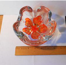 VINTAGE JOE ZIMMERMAN GLASS FLOWER BOWL / ASHTRAY MARKED Z ON BOTTOM