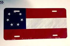 "CIVIL WAR ""1ST NATIONAL CONFEDERATE 7 STAR FLAG"" License Plate Made in USA"