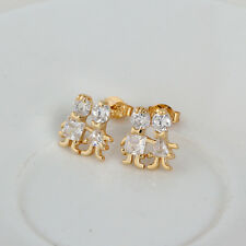 "Child Girl 14K Gold Plated Lucky ""baby ""CZ Cute Teen Cute Stud Earrings jewelry"