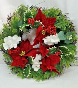 Holiday Door Wreath Winter Seasonal 21 inch diameter