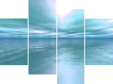 Blue Green Sea Contemporary Home Multi 4 Panel Canvas Pictures Wall Art Prints