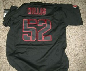 """$95 NWT Youth XL NFL Nike Black Red WILLIS JERSEY SF 49ers """"52"""" V Neck Football"""
