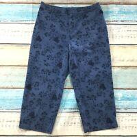 Croft & Barrow Womens Pants siz 12 new Blue Floral Cotton Stretch Capris Cropped
