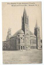 Vintage Postcard First Baptist Peddie Memorial Church, Newark, N.J.