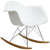 Midcentury Modern Style Molded Plastic Rocking Chair in White