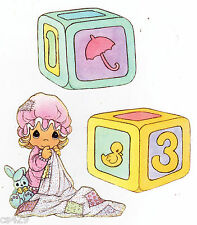 "3"" Precious moments girl block set nursery peel & stick wall border cut out"