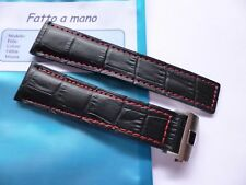 Back Leather with Red stitch strap in 22mm - TAG Heuer Style band with clasp