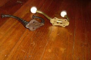 2 Vintage/Antique Style Coat/Hat/Bag Hanging Hooks -Cast Metal -Brass