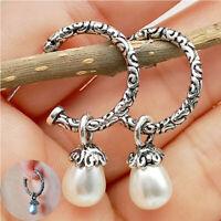 Classy Drop Jewelry Women 925 Silver plated Earrings Pearl Ear Stud Dangle