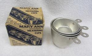 NIB Vintage MARY ANN'S ACCURATE MEASURE Metal MEASURING CUP Set BOX Unused