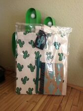 Fab Retro Cactus Shopping Tote Bag Notebook + Pen Gift Set