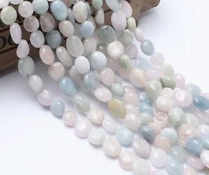 6-10mm Pale Blue Pink Cream Morganite Pebble Potato Semi-Precious Gemstone Beads