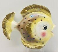 Vintage Golden Brown/ Yellow -Hanging Wall Pocket Ceramic Fish