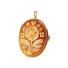 14K Yellow Gold 32mmX25mm Carnelian Shell Cameo Brooch / Pendant