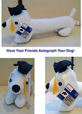 "13"" Stuffed Graduation Autograph Dog Party Favor Congrats Grad w/Grad Cap   5-5D"