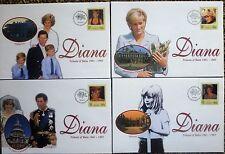 1998 Diana Princess Of Wales SET 4 COMMEMORATIVE COVERS  tuvalu  VERY GOOD