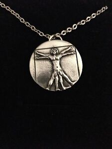 Vitruvian Man R203 English Pewter on a Silver Platinum Plated Necklace 18""