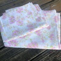 Vtg Floral Morgan Jones Double Full Flat Sheet 2 Pillowcase Set 70s Pink Green