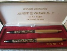 ARPEGE CHANEL NO. 5 14 KT GOLD PERFUMED WRITING PENS, 2 IN A CASE