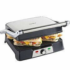 VonShef 2 in 1 2000W 4 Slice Sandwich Panini Press & Grill - Stainless Steel