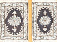 Pair Of Traditional Navy Blue Geometric Nain Hand-Knotted 1'x2' Wool Rug