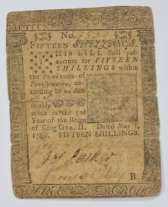 1760 Colonial Pennsylvania 15 Shillings Note- Designed by Ben Franklin! *3282