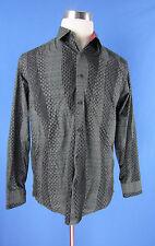 Jhane Barnes Mens Designer JB i.d Flip Cuff Shirt Black & Gray Geometric Med.