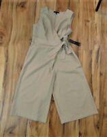 Women's Tiana B. Khaki V-Neck, Wrap Tie Jumpsuit...Size:  12  NWT