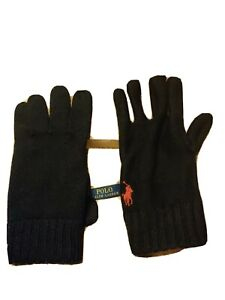 Polo Ralph Lauren Lambswool Gloves, Black. Mens One Size.