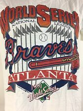 Vintage Atlanta Braves Shirt 90s World Series 1991 MLB Baseball White