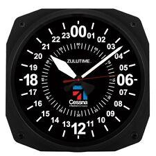 "New Trintec CESSNA 24 Hour 10"" BLACK Military ZULU Time  Instrument Clock 10"""
