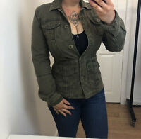 Ladies Timberland Khaki Green Military Army Style Button Up Collared Coat Jacket