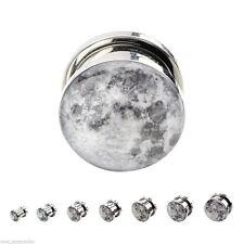 "PAIR-Moon Steel Screw On Plugs 12mm/1/2"" Gauge Body Jewelry"