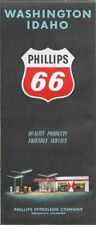 1961 PHILLIPS 66 Road Map WASHINGTON IDAHO Indian Reservations Airports Parks