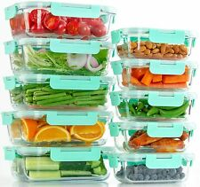 10 Pack 20 Pcs Glass Food Storage Containers with Lids, Airtight, BPA Free