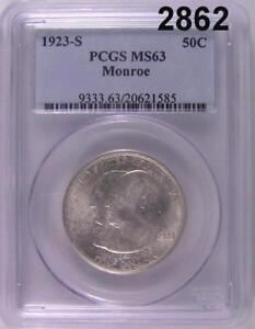 1923 S PCGS CERTIFIED MS 63 MONROE HALF DOLLAR! #2862