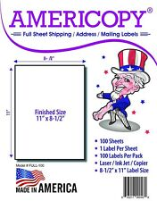 """Americopy 1up Full Sheet Shipping Label. 8.5"""" x 11"""". 1/Sheet 100 Labels/Pack."""
