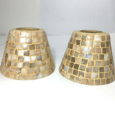Set 2 Glass Mosaic Tile Lamp Light Shades Retro Iridescent Mother Of Pearl Beige