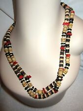 "Kenneth Jay Lane Wood Bead Red Coral Necklace  Signed 48"" Rare"