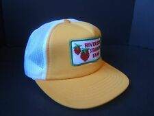 Riverside Strawberry Farm Patch Snapback Trucker Hat Vintage Yellow Hipster Cap
