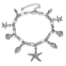 Women's Silver Ocean Multi Starfish Sea Star Conch Shell Pearl Chain Bracelet