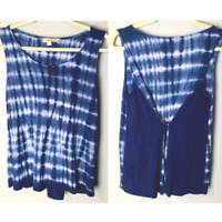 Olive & Oak Women's Sleeveless Top Size Medium Tank Tie Dye Blue White Casual