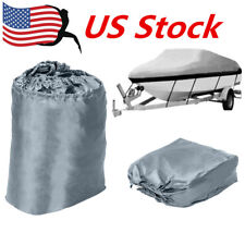 17-19ft Heavy Duty Speedboat Boat Cover Grey Waterproof  Fish-Ski V-Hull 210D US