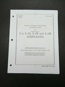 1944 AAF Taylorcraft L-2 L-2A L-2B L-2M Pilot's Aircraft Flight Operating Manual