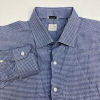 Culturata Button Up Dress Shirt Men's Size 18 46 Long Sleeve Blue White Check