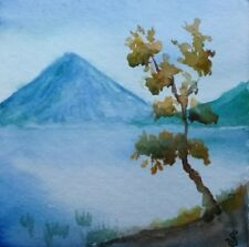 Hand Painted Original Watercolor LAKE ATITLAN Guatemala Landscape Signed by JV