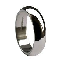 6mm 925 Sterling Silver Wedding Rings D Shape UK HM 6.5g Men's Heavy Solid Bands